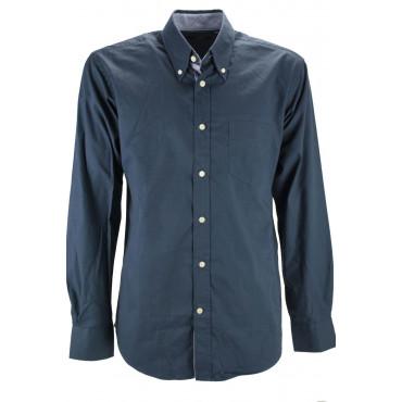 Homme shirt Bleu Foncé en Sergé de coton à col Button-Down intérieur de col à rayures bleu ciel - Grino