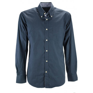 Man shirt Dark Blue cotton Twill Button-Down collar internal collar striped sky blue - Grino