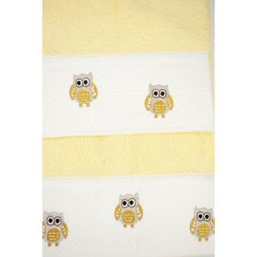 GIFT IDEA Set of Towels Embroidery Turtles, Owls, Hearts, assorted colours