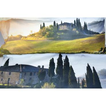 Copripiumino Matrimoniale Paesaggio Toscana Casale Val d'Orcia 250x200 +2 Federe + Sotto Angoli