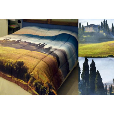 Duvet Quilt Double Landscape Tuscany Farmhouse in Val d'orcia, Digital Printing, Marta Marzotto