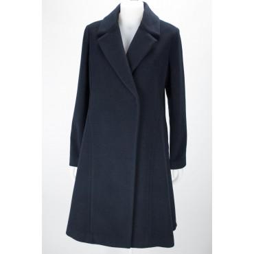 The Long coat Woman 48 XL Cloth Wool Dark Blue - Montereggi