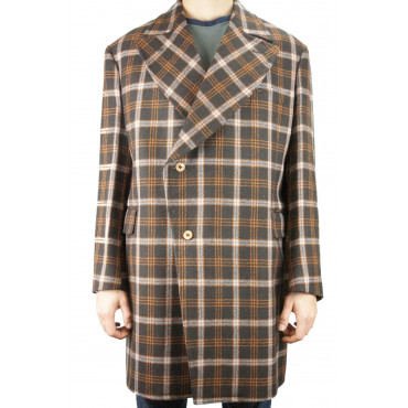 Abrigo 3/4 de doble botonadura para hombre 54 XXL Tela de lana escocesa marrón - Tellini