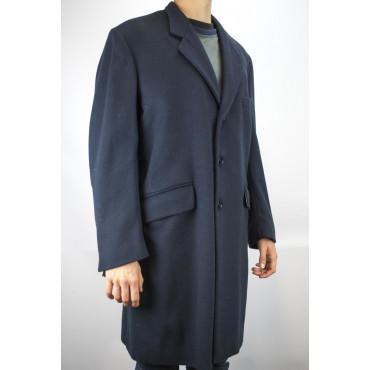 Cappotto 3/4 Uomo 50 L Blu Scuro Panno Lana Misto Cashmere 3Bottoni - Aladino