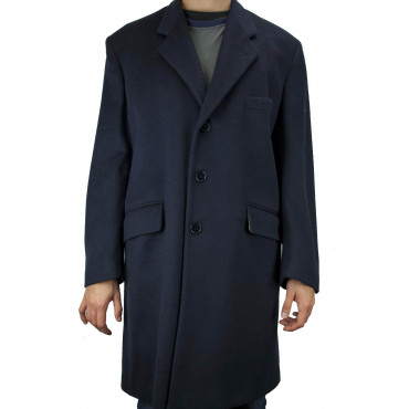 3/4 Man Coat 50 L Dark Blue Cloth Wool Cashmere Blend 3Buttons - Aladdin