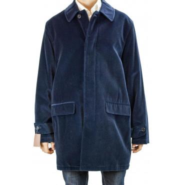 Long jacket Man 50 L Ink Blue Velvet Coat - Clothes Man, Jackets and Vests
