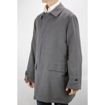 Men's Long Jacket 50 L Dark Gray Hammered Velvet Overcoat - Men's Suits, Blazers and Jackets