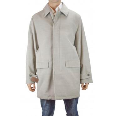 Men's Long Jacket 56 XXXL Light Beige Velvet Ribbed Cashmere Blend - Men's Suits, Blazers and Vests