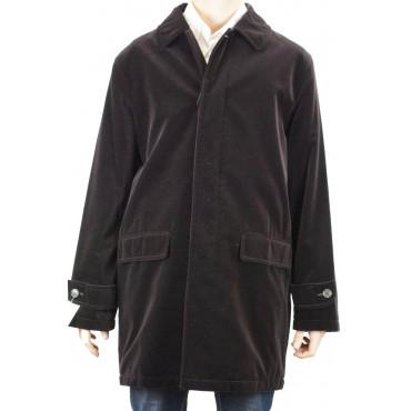 Men's Long Jacket 54 XXL Brown Smooth Velvet Overcoat - Men's Suits, Jackets and Vests