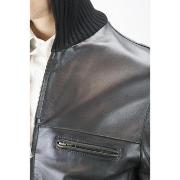 Soft Leather Bomber Jacket Man 50 L Black High Neck