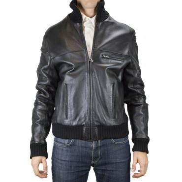 Jacket Bomber Soft Leather Man 50 L, Black High Neck