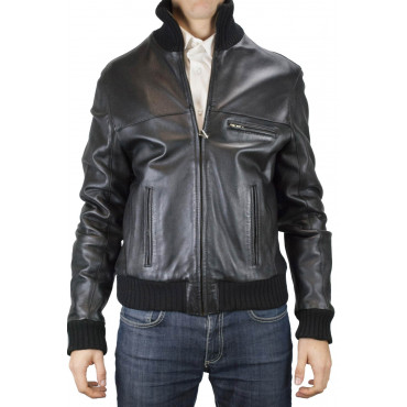 Soft Leather Bomber Jacket Man 50 L Black High Neck