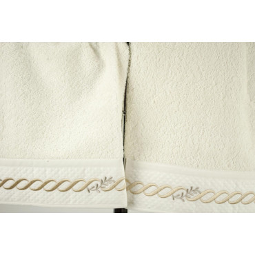 GIFT IDEA Face Towel+Guest Embroidery Chain Wave Ivory Beige 7820