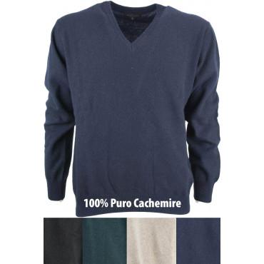 Mesh V Neckline Man's Pure Cashmere 2Fili - Space Five