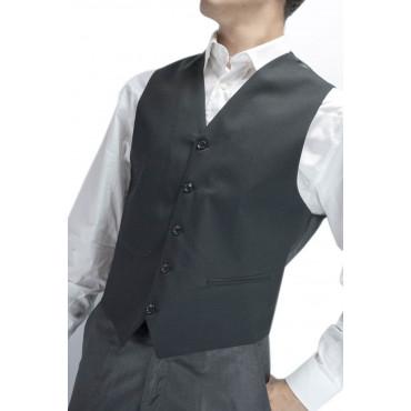 Classic Black Men's Vest with Frescolana Buttons - Sizes 46 48 50 52 54 56 58 60