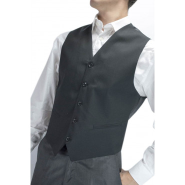 Gilet Man Black Classic with Buttons Frescolana - Sizes 46 48 50 52 54 56 58 60