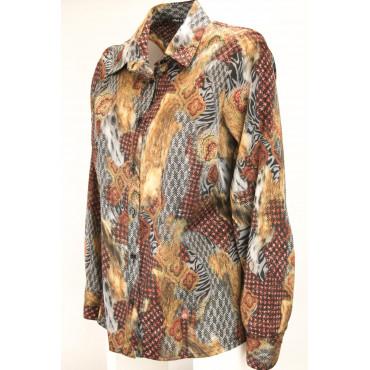 Shirt Women's Classic Satin Fancy Brown Orange - fit screwed
