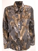 Women's shirt Classic Patterned Satin Beige Gray - fit screwed