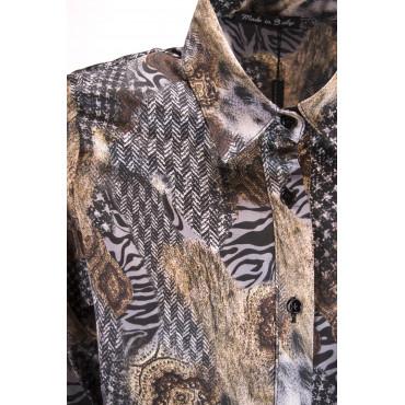 Camicia Donna Classica Raso Fantasia Beige Grigio - vestibilità avvitata