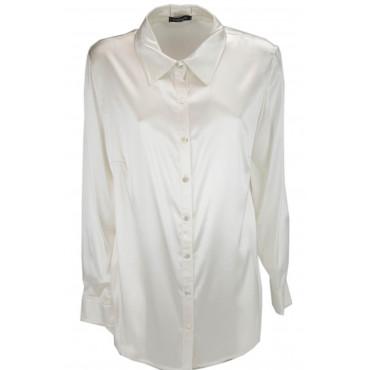 Camisa De Mujer Clásico De Marfil 100% Pura Seda Satén - Tallas Grandes