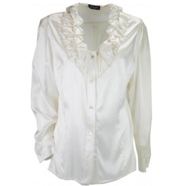 Women's Shirt Ruffle Ivory 100% Pure Silk Satin - Large Sizes