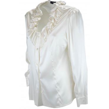 Camicia Donna Rouches Avorio 100% Pura Seta Raso - Grandi Taglie