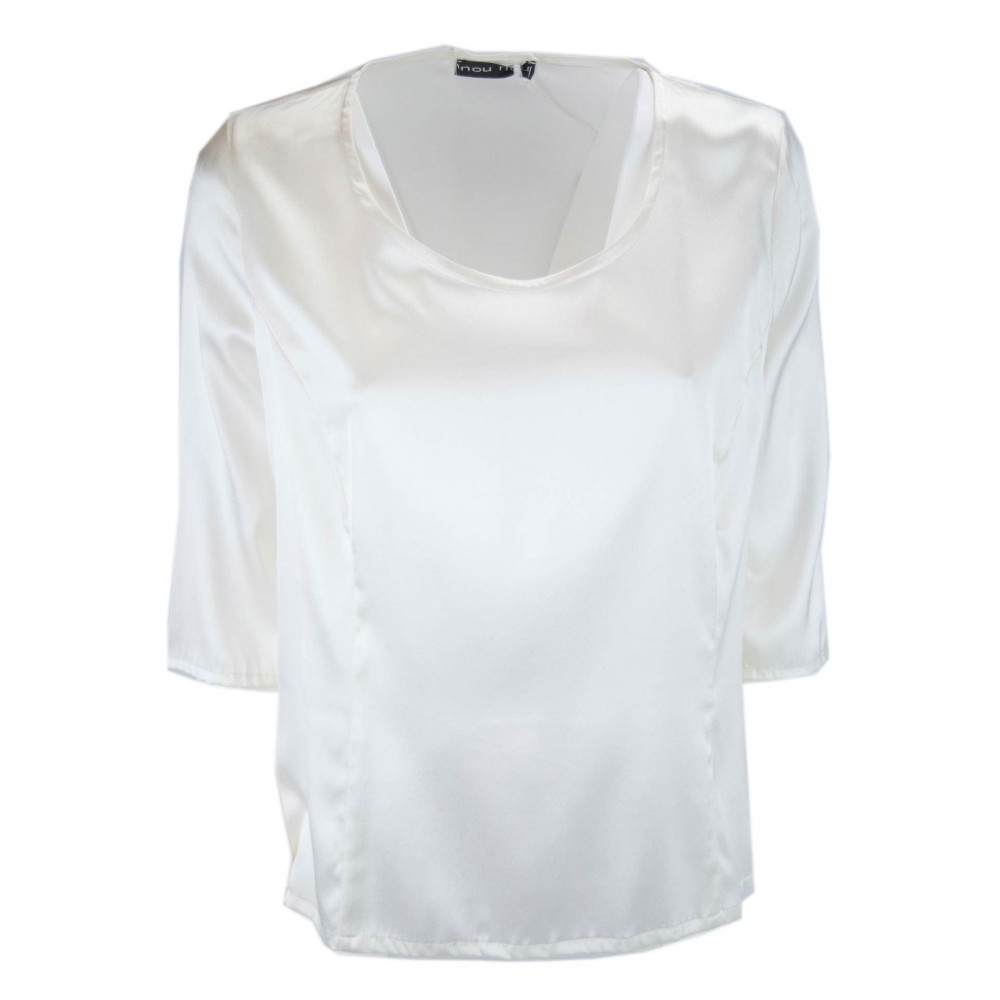 Women's Shirt 3/4 Sleeve Ivory 100% Pure Silk Satin - Large Sizes