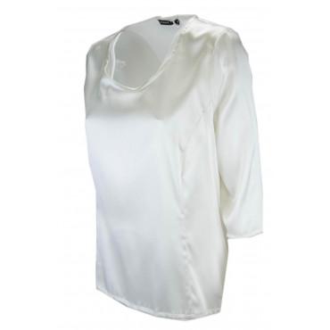 Camicia Donna Manica 3/4 Avorio 100% Pura Seta Raso - Grandi Taglie