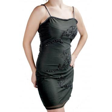 Abito Donna Mini Tubino Elegante S Nero - Ramage di Perline e Paillettes