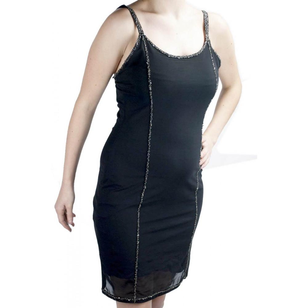 Damen kleid Mini Kleid Elegant Schwarz M - Zeilen mit transparenten Perlen  verziert
