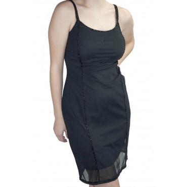 Vestido de las Mujeres Mini Vestido Elegante de color Negro M - Filas de Cuentas Negro