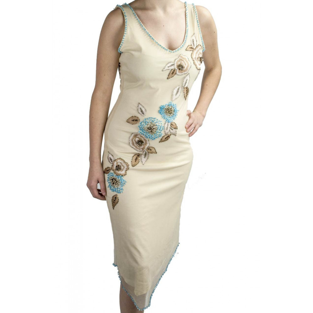 Gown Women's Elegant sheath Dress M Beige Sequins and Turquoise Floral Embroidery