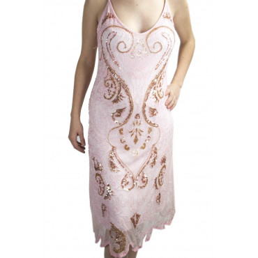 Gown Women's Elegant sheath Dress-XL-Pink - Sequins and Beads Arabesque