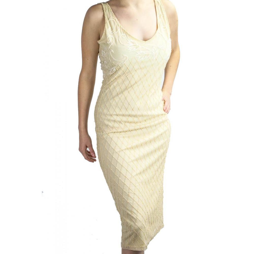 Damen kleid Etuikleid Elegant M-Weiß-Elfenbein - Perlen Rauten und Stickerei