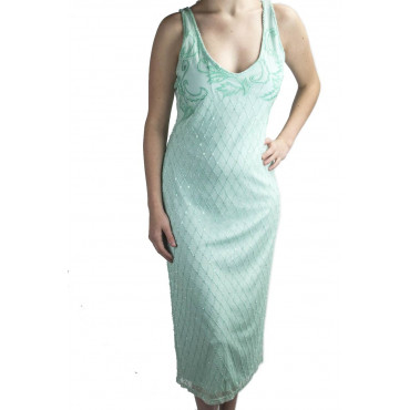 Gown Women's Elegant sheath Dress XL Aquamarine - Beads, Diamonds, and Embroidery