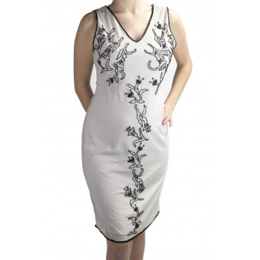 Gown Women's Elegant sheath Dress M Light Gray Embroidery Black beaded