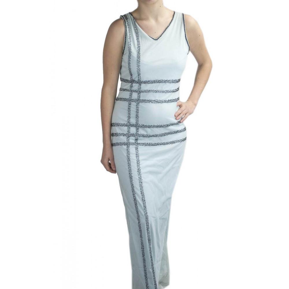 Damen kleid Etuikleid Lang an den füßen der Eleganten S-helltürkis -  Stickerei Schwarzen perlen