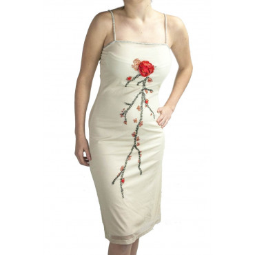 Gown Women's Elegant Sheath Dress M Beige - Beaded Red Flower