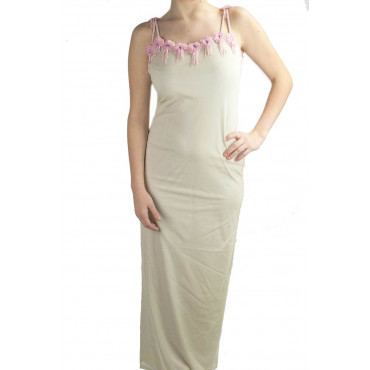 Gown Women's Elegant Sheath Dress M Beige Flowers Beads Pink