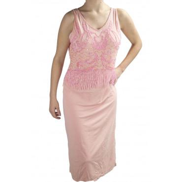 Abito Donna Tubino Elegante XL Rosa - Corpetto Perline Strass Charleston