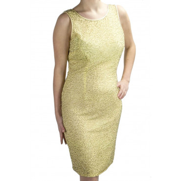 Dress Women's Mini Dress Elegant Yellow - Gold Beads