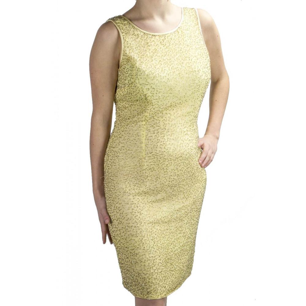 Abito Donna Mini Tubino Elegante S Giallo - Perline Oro