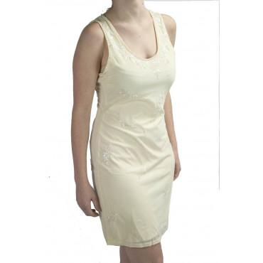 Abito Donna Mini Tubino Elegante M Avorio - Paillettes e Perline motivo Fiorellini