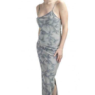 Vestido de Mujer de Vestido Largo hasta los pies, el Estilo M-Gris claro - Bordado de flores y perlas Negras