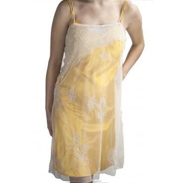Abito Donna Mini Tubino Elegante S Giallo - Tulle Bianco Perline e Paillettes