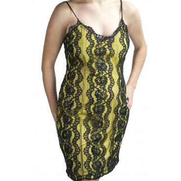 Elegant Mini Sheath Dress Woman M Yellow Black Lace Beads and Sequins