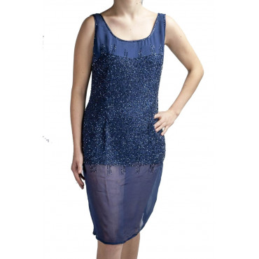 Elegant Sheath Woman Dress M Blue - studded with semi-transparent beads
