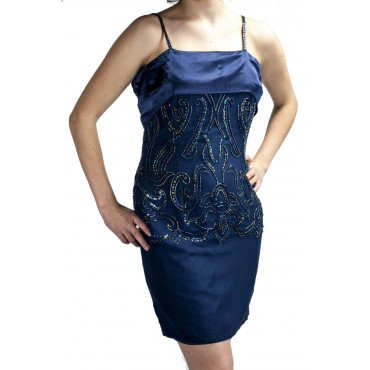 Elegant Woman Sheath Dress M Blue - Satin Band with Beaded Flowers