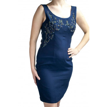 Elegant Sheath Woman Dress M Blue - Beaded Flowers on the neckline