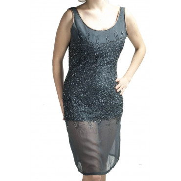 Elegant Woman Sheath Dress M Gray - studded with semi-transparent beads